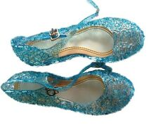 New Girls Frozen Anna Elsa Princess Blue Gel Shoes Sandlas fancy Dress Costume