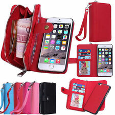 Leather Purse Pouch Wallet Card Case Cover Wristlet Zipper for Samsung Galaxy