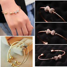 HOT Beauty Women Jewelry bow Crystal Gold Plated Charm Cuff Bangle Bracelet Gift