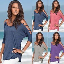 Fashion Womens Summer Sexy Off Shoulder Blouse Ladies Casual Loose Tops T Shirts