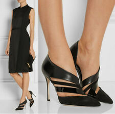 New Womens Leather Stilettos High Heels Pumps Pointed Toe Sandals Slip On Shoes