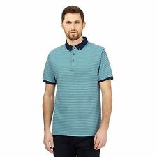 J By Jasper Conran Mens Big And Tall Turquoise Fine Striped Textured Polo Shirt