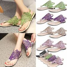 New Womens Rhinestone Suede Roman Gladiator Sandals Flat Flip Flops Thongs Party