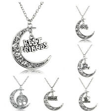 Party Hollow Moon Charm Necklace Pendant Family Member Gift Choke Retro Love Hot
