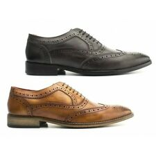 Base London SURREY Mens Washed Leather Smart Office Wedding Oxford Brogues Shoes