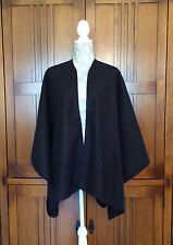 "Handmade Fleece Ruana Shawl Black Misses Onesize 53"" x 55"" Topstitched 4 Colors"