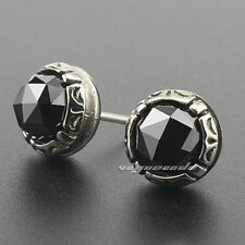 316L Stainless Steel Black CZ Stone Fashion Stud Earring 3L001A