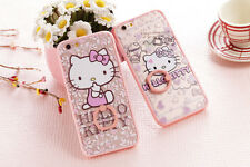 Cute Hello Kitty Panda TPU Acrylic Ring Shell Case Cover for iPhone 6 6s Plus