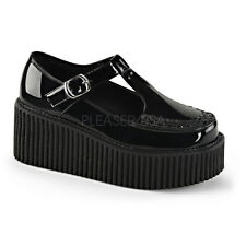 Demonia Creeper-214 Shiny Black Buckle Creepers - Gothic,Goth,Punk,Black,Creeper