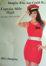 Sexy Captain Mile High fancy Dress Costume Size 12 14 Full Outfit Dress and hat