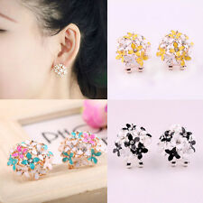 Exquisite Lady Fashion  Floral Elegant Crystal Rhinestone Ear Stud Earrings