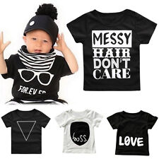 Kids Baby T Shirt Tops Short Sleeve Crew Neck Casual Tee Toddler Infant Cloth FN