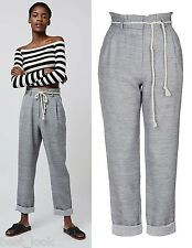 TOPSHOP Belted Paperbag Trousers in Grey Size 4 to 16