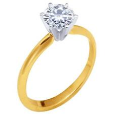 14k Yellow Gold 6.50mm Moissanite Solitaire 6 Prong Ring (0.88CT , 1.00CT DEW)