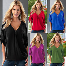 Plus Size Womens Casual Short Sleeve Sexy Tee Shirt Blouse Ladies Loose Tops New