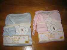 Burt's Bee Baby footed Blue/White Pink Coverall Hat organic cotton 0-3 3-6 Month