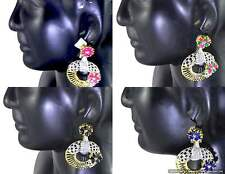 Earrings set studded with CZ AD White Red Red-Green Black and Blue Gemstones