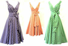 New Retro Vtg 1950's classicgina Polka Dot Full Skirted Summer Swing Tea Dress
