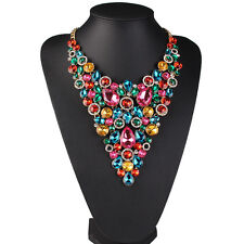 2016 New Fashion Luxury Crystal Statement Women Bib Choker Necklace