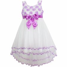 Girls Dress  Purple Flower Multi-layers Party Pageant Wedding Kids Cloth SZ 4-12