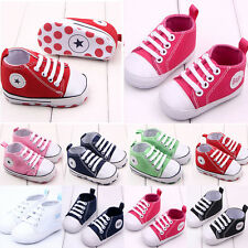 Infant Toddler Baby Boy Girl Soft Sole Crib Shoes Sneaker Newborn Canvas BGO