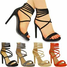 New Womens Ladies Platforms High Heel Sandals Strappy Barely There Shoes Size