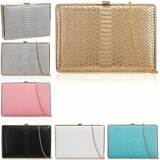 Designer Boxed Faux Leather Croc Women Clutch Bag Ladies Evening Party Prom UK
