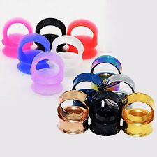 2 Pairs Stainless Steel Ear Tunnel Ear Plugs & Silicone Tunnel Earlets Ear Gauge