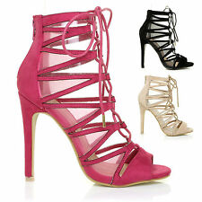 GHILLIE Womens High Heels Peep Toe Sandals Strappy Tie Up Shoes Size UK EU US