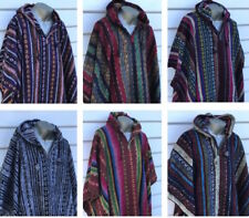 Hooded Poncho Hippie Baja Warm Mexican Style Brushed Nepalese Gheri Cotton Cape