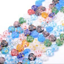 Wholesale Mix-Color Heart Millefiori Glass Craft Charms Spacer Beads 8/10/12MM