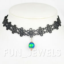 New Mood Necklace Chic Faux Leather Lace Choker With Color Change Mood Bead