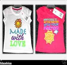 GIRLS KIDS WHITE PINK GLITTER LOVE FRIENDS SHORT SLEEVES SUMMER T-SHIRT TOP 2-8Y