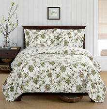 Luxurious and Reversible 3-piece Carrie Coverlet  Embroidered Quilt Set