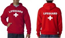 LIFEGUARD HOODIE HOODY JACKET SWEATSHIRT LIFE GUARD SHIRT RED frt.& bk Arched