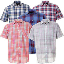 Mens Rock & Rock Short Sleeve Soft Cotton Summer Casual Check Shirt In 5 Colours