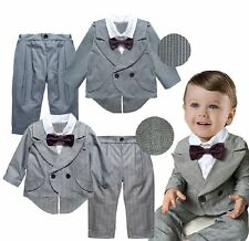 Baby Kids Boy Wedding Tuxedo Formal Striped Suit Outfit Clothes+Pants Set 12M-4T