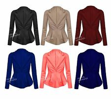 Womens Ladies Crop Frill Shift Slim Fit Fitted Peplum Blazer Jacket Coat 8-14