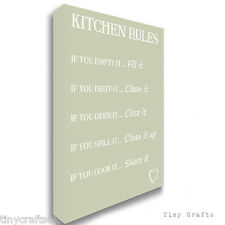 KITCHEN RULES - Family Quote - Green Canvas Print Picture Wall Art