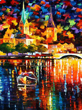 100% Handmade modern abstract Night view Landscape palette knife painting