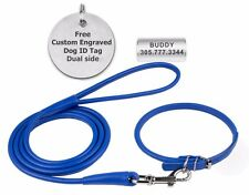 Dog Collar Navy Blue Leash Set Leather Rolled Round Puppy to Large Free ID Tag