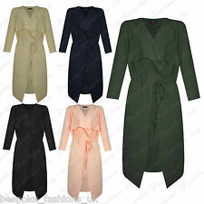 Ladies Women's Marcella Long Wrap Belted Waterfall Cardigan Jacket Coat SM ML