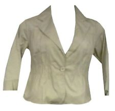 "Women Clothing Stretch Blouse Casual Crop Jacket Beige 1X = 42"" to 44"" around"