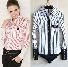 NEW Classic Fashion Striped Long Sleeved  Bodysuit Blouse Top-S M