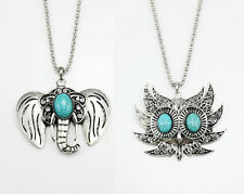 Charm Fashion Turquoise Owl, Elephant Pendant Necklace Vintage Jewelry