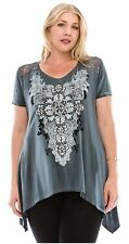 VOCAL PLUS GRAY TUNIC TOP RHINESTONE CROSS LACE SHARKBITE  1X 2X 3X CHRISTMAS