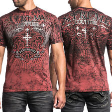 Xtreme Couture Severence Fleur Medieval Crosses Silver Foil MMA Mens T-Shirt Red