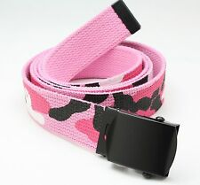 PINK CAMO BELT WITH BLACK BUCKLE 100% Cotton Military Web Belts Rothco 4294