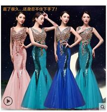 New Ladies Halter Diamond Lace Wedding Toast Dress Slim Fishtail Party Gown Long