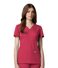 Greys Anatomy 4153 Watermelon Junior Fit  3 Pocket Mock Wrap Scrub Top